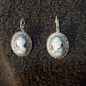 Cameo Earrings. Resin. Metal Alloy.